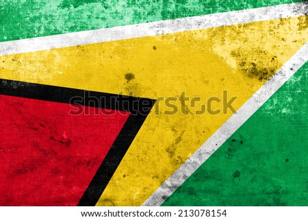 Guyana Flag with a vintage and old look - stock photo