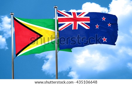 Guyana flag with New Zealand flag, 3D rendering