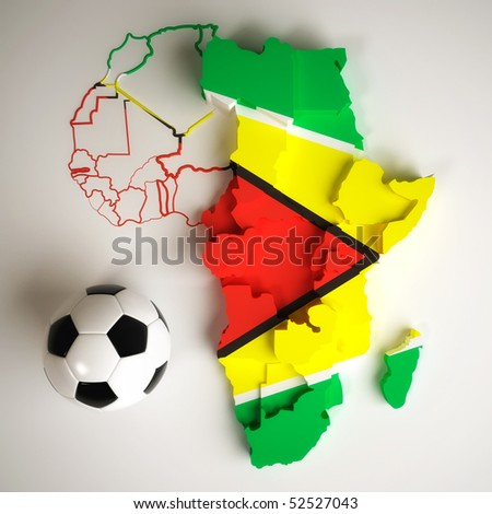 Guyanese flag on map of Africa with national borders