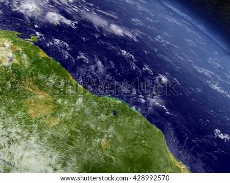 Guynea, Suriname with surrounding region as seen from Earth's orbit in space. 3D illustration with detailed planet surface and clouds in the atmosphere. Elements of this image furnished by NASA. - stock photo