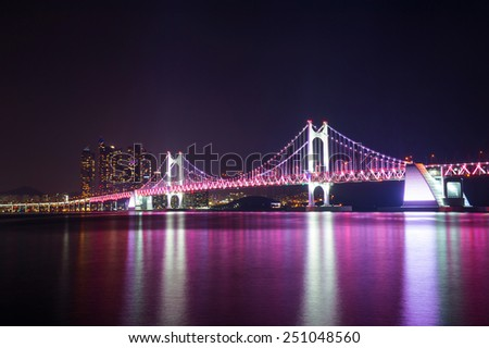 Gwangan Bridge at night in Busan, South Korea.