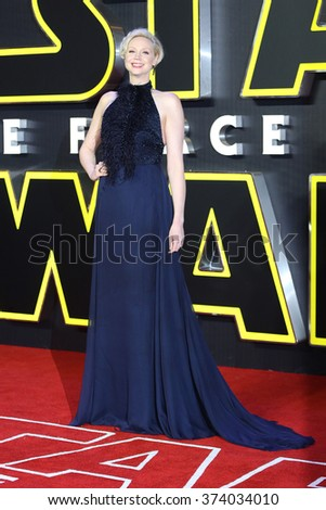 """Gwendoline Christie at the European premiere of """"Star Wars: The Force Awakens"""" in Leicester Square, London.  December 16, 2015  London, UK Picture: James Smith / Featureflash - stock photo"""