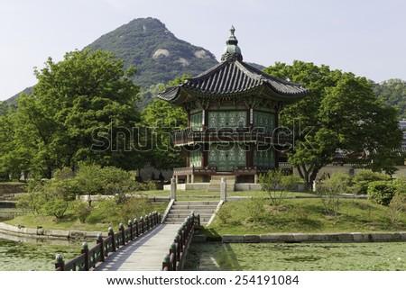 Gyeongbokgung Palace Pagoda in Seoul, South Korea - stock photo