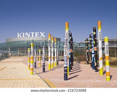 GYEONGGI, SOUTH KOREA -MAR 26: KINTEX (Korea International Exhibition Center) on Mar 26, 2012 in Gyeonggi, South Korea. KINTEX is a convention and exhibition center with 224,800 sq.m. exhibition area. - stock photo