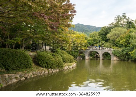 GYEONGJU, KOREA - OCTOBER 11, 2015: Haetalgyo Bridge and Banyayeonji pond of Bulguksa temple in Gyeongju, South Korea.