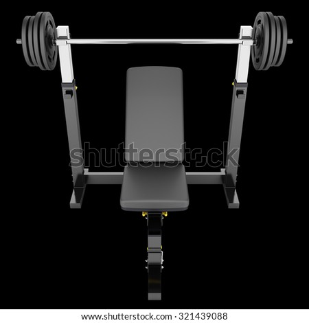 gym adjustable weight bench with barbell isolated on black background - stock photo