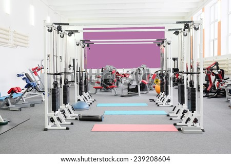 gym apparatus in a gym hall  - stock photo