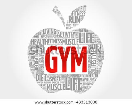 GYM apple word cloud, health concept - stock photo