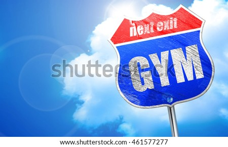 gym, 3D rendering, blue street sign