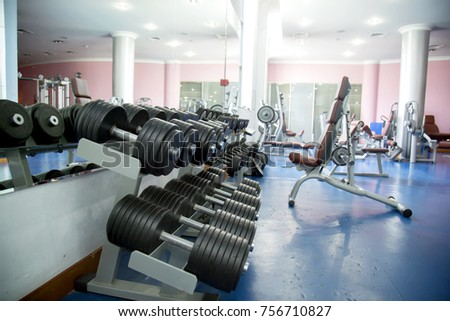 gym, dumbbells, equipment