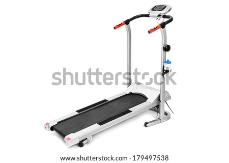 gym equipment, treadmill for cardio workouts - stock photo