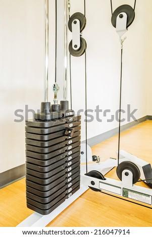 Gym equipment ,weight stack  - stock photo