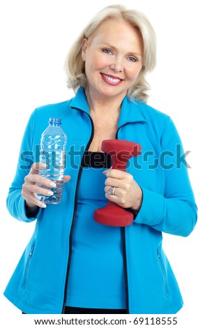 Gym & Fitness. Smiling elderly woman. Isolated over white background