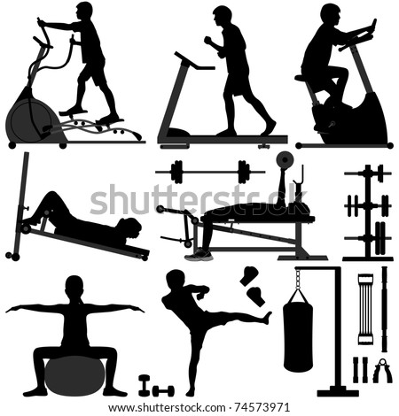Gym Gymnasium People Sport Exercise Workout Equipment Tool Fitness Man Training - stock photo