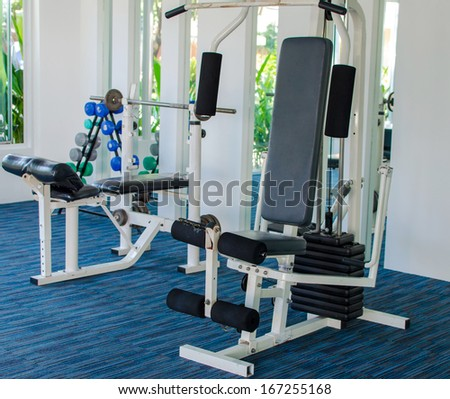 Gym machine apparatus in hall for Exercise. - stock photo