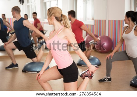 Gym people doing exercise with bosu balance trainer - stock photo