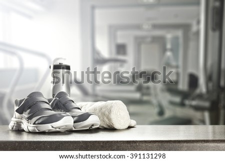 gym place and shoes and free space  - stock photo