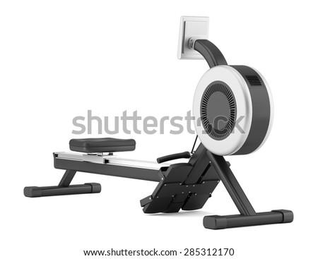 gym rowing machine isolated on white background - stock photo