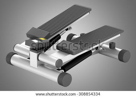 gym stepper isolated on gray background - stock photo