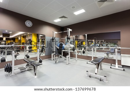 Gym with special equipment, empty, horizontal - stock photo