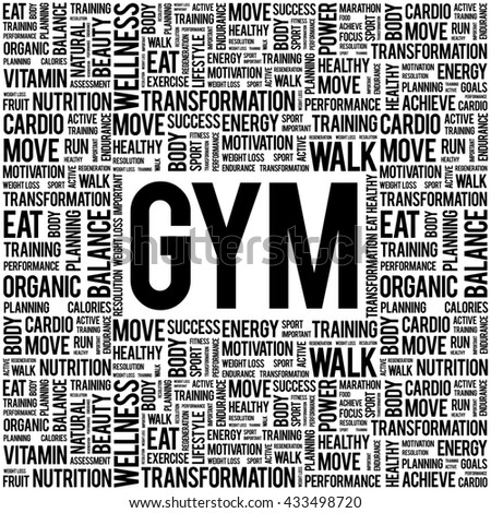 GYM word cloud background, health concept - stock photo