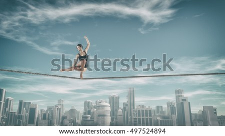 Gymnast doing exercises on a rope above city. This is a 3d render illustration