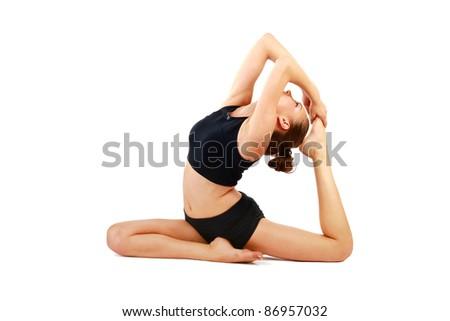 Gymnast girl in flexible back pose - stock photo