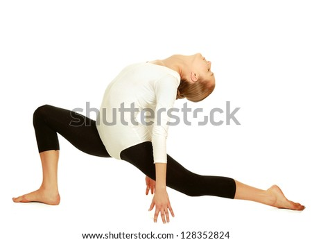 Gymnast girl in flexible back pose, isolated on white background - stock photo