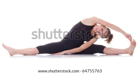 Gymnast girl on white background - stock photo