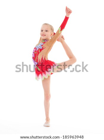 Gymnast, sport,kids,girl,kid,child- Charming young girl gymnast. Isolated on white background. - stock photo