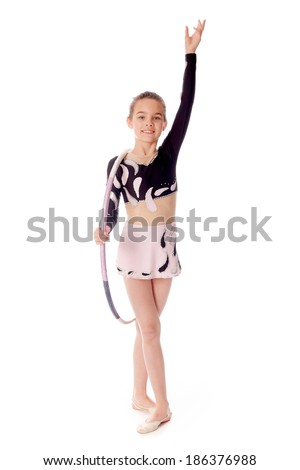 gymnast with the hoop on a white background