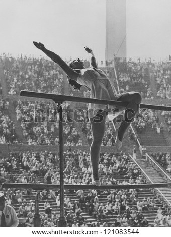 Gymnastic competition at the Olympics - stock photo