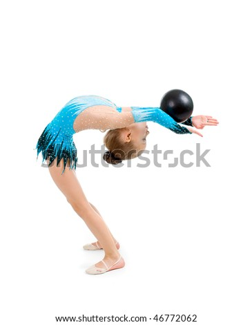 gymnastics ball . young girl doing gymnastics over white
