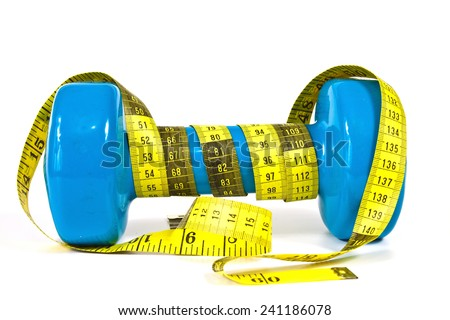 Gymnastics dumbbell and tape measure on a white background