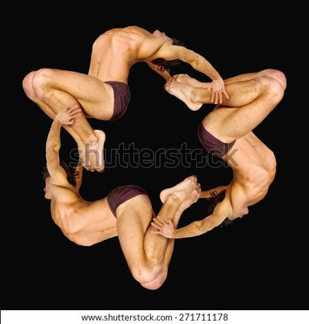 Gymnasts figures on a black background.Athletes.Handstand.Pattern.Triangle.C?olor image - stock photo