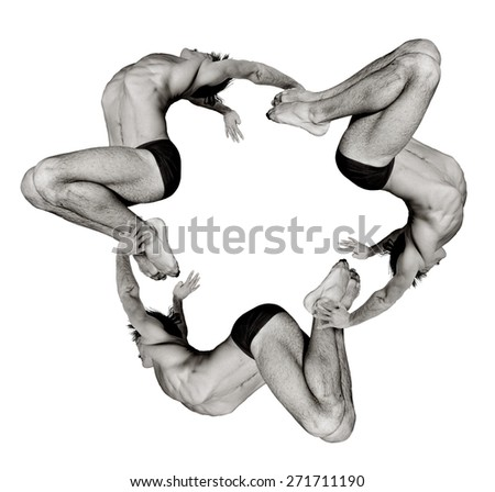 Gymnasts figures on a white background.Athletes.Handstand.Circular motion.Ornament. Black and white image - stock photo