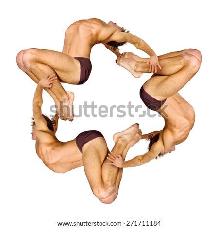 Gymnasts figures on a white background.Athletes.Handstand.Pattern.Triangle.Color image - stock photo