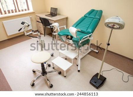 Gynecological cabinet with chair and medical equipment with nobody