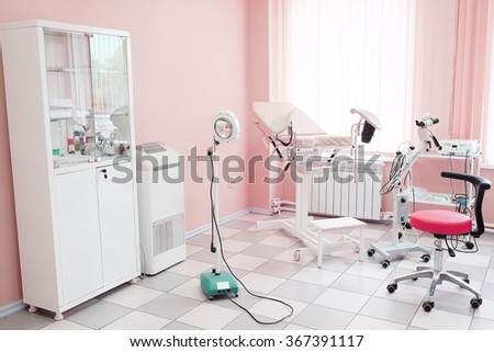 Gynecological chair in gynecological room