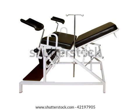 Gynecological chair on a white background - stock photo