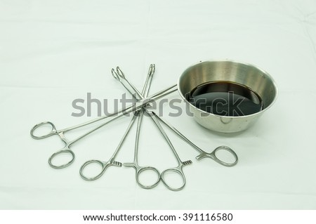 gynecological equipment use for treatment gynecological disease on the sterile table in operating room - stock photo