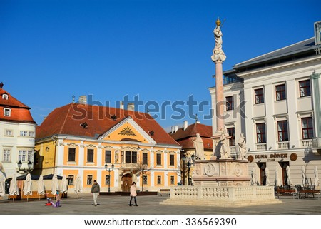 GYOR - FEBRUARY 15 : Old city on 15 February 2015. Gyor, Hungary. Gyor has a beautiful baroque old city. - stock photo