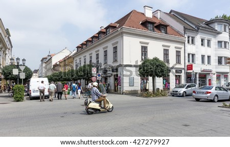 GYOR - MAY 26 : The downtown as on 26 May 2016. Gyor, Hungary. Gyor has a beautiful baroque old city.