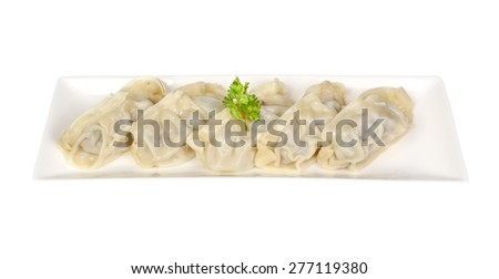 Gyoza (Japanese Dumplings) isolate in white - stock photo