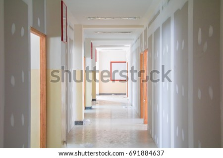 Simple Gypsum Board Wall Interior Decoration Of Home At Site With Copy  Space Add Text With Decoration Site.