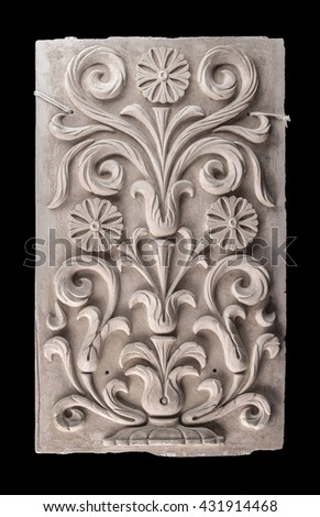 gypsum products, stucco weave, pattern, ornament on a black background - stock photo