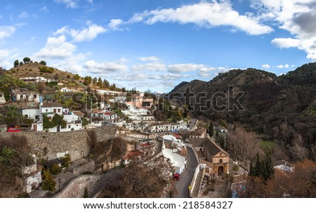 Gypsy Hill (Sacromonte),  the famous suburb of Granada in Andalusia in Spain