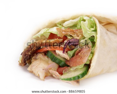 Gyros in tortilla - stock photo