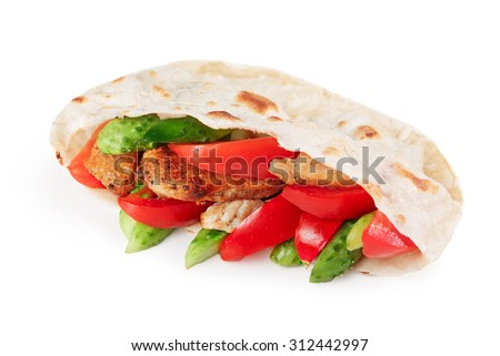 Gyros pita, a kind of shawarma with chicken and vegetables. Greek takeaway