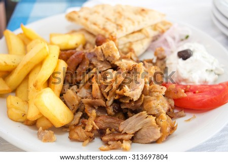 Gyros portion in a restaurant - stock photo